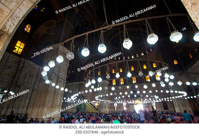 Cairo, Egypt – November 7, 2018: photo from inside for Mosque of Muhammad Ali in Cairo city capital of Egypt, it is shown in Ottoman Islamic style and Number...
