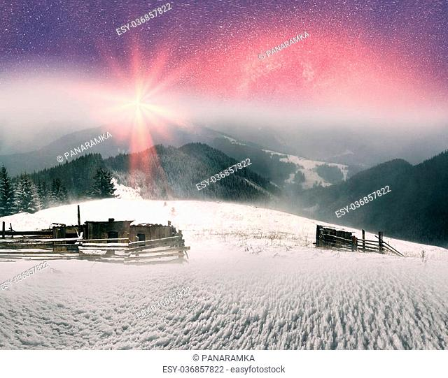 In March, the sudden cold and blizzard covered mountains, houses a silver snow fencing, morning and evening these days were especially beautiful when the sun...