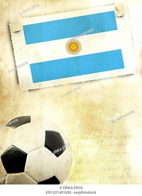 Photo of Argentina flag and soccer ball