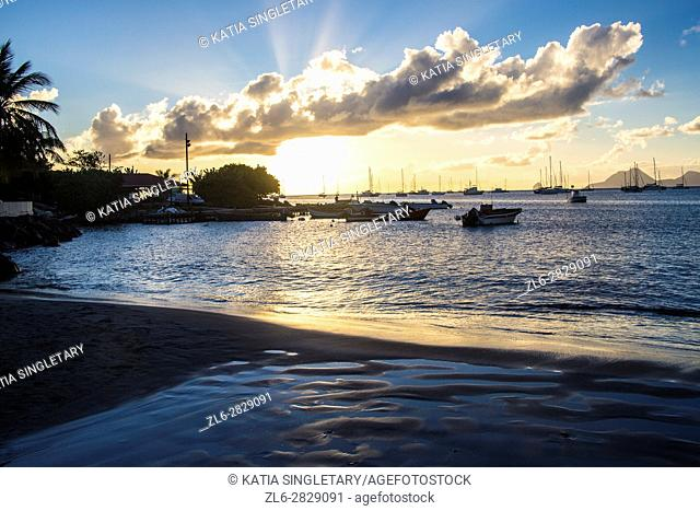 Sunset and shopping in Sainte Anne the south of Martinique very famous for it's church and beaches