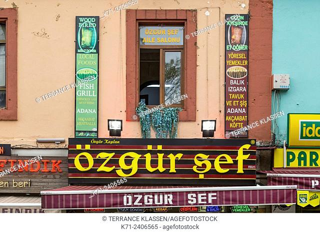 Street architecture of shops, and stores in the Black Sea port city of Trabzon, Turkey