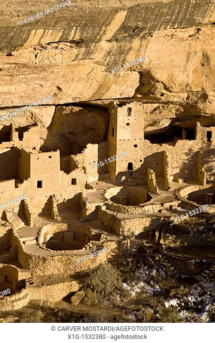 Cliff Palace cave dwellings during winter in Mesa Verde National Park, Colorado, USA