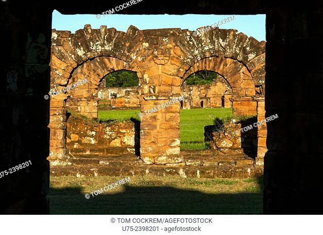 Cloister archways, Jesuit Mission of La Santísima Trinidad de Paraná ruins, Encarnacion, Paraguay