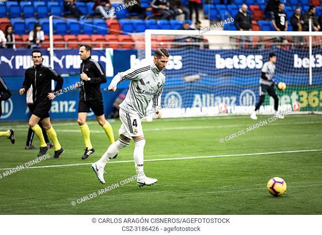Sergio Ramos, Real Madrid player in the preheating before the La Liga match between Eibar and Real Madrid CF at Ipurua Stadium on November 24, 2018 in Eibar
