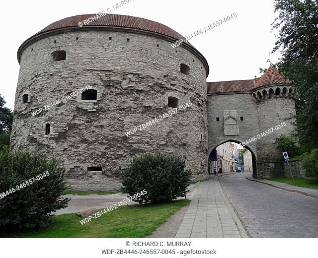 Entrance to Old Tallinn Old Medieval Town Fat Margrets Cannon Tower-Tallinn, Estonia