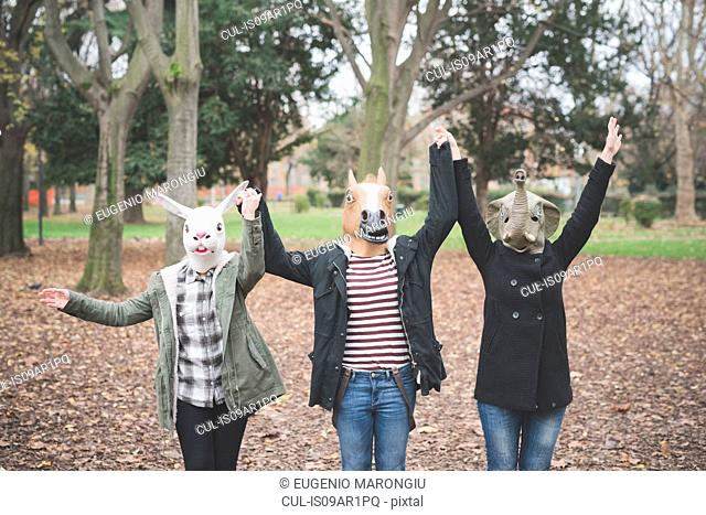Three sisters wearing animal masks dancing in park