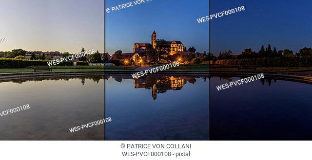 Germany, Saxony-Anhalt, Quedlinburg, Quedlinburg Abbey in the evening
