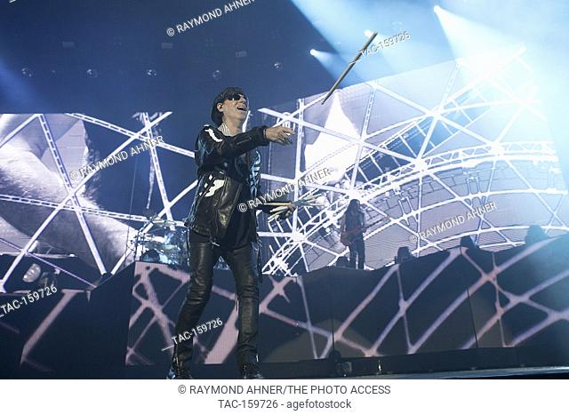 Klaus Meine of the Scorpions perfoms at the Oracle Arena on October 4, 2017 in Oakland, California