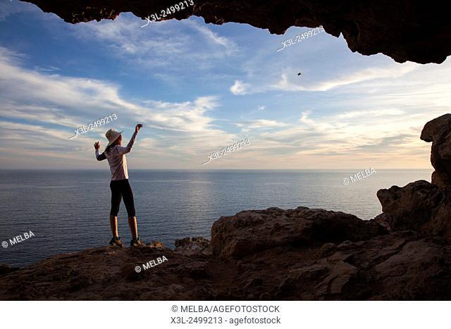 Cova Foradada old cave at Cap Barbaria, Formentera, Balearic Islands, Spain
