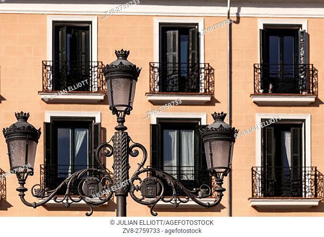 Ornate windows in Plaza Isabel II in Madrid, Spain