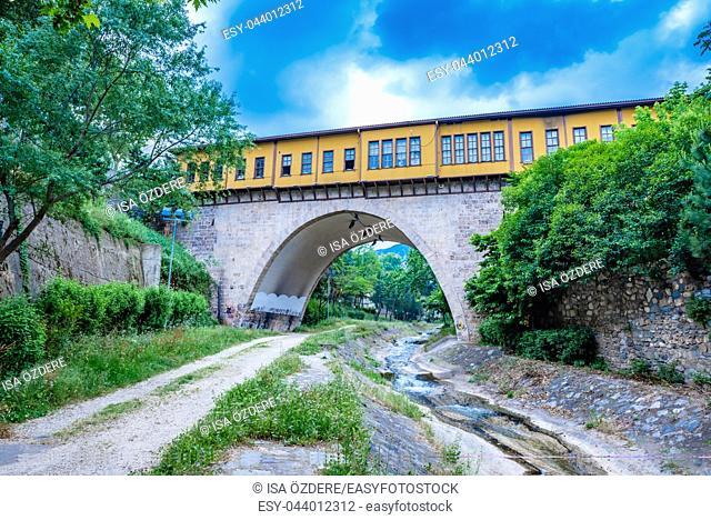High resolution panoramic view of historical Irgandi Bridge in Bursa,Turkey. 20 May 2018