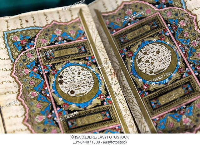 Moslem Holy ancient Book the Quran in Mevlana museum in Konya, Turkey. 28 August 2017