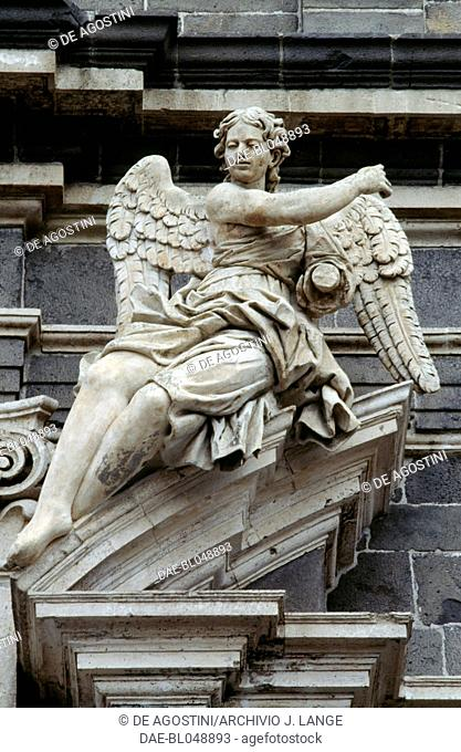 Angel, sculpture above the entrance to the Church of St Lucia, Adrano, Sicily. Italy, 18th century