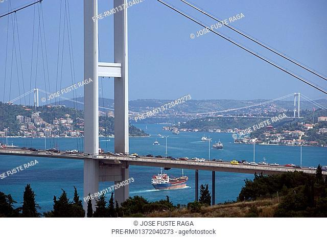 Bosphorus Strait with Fatih Bridge and Bosphorus Bridge, Bosphorus Bridge, Istanbul, Turkey, Europe