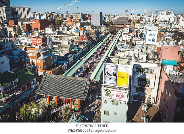Japan, Tokyo, Asakusa, Senso-ji temple seen from above