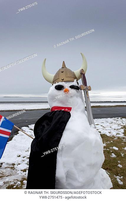 Snowman dressed as a Viking with an Icelandic flag, Seltjarnarnes, Reykjavik, Iceland