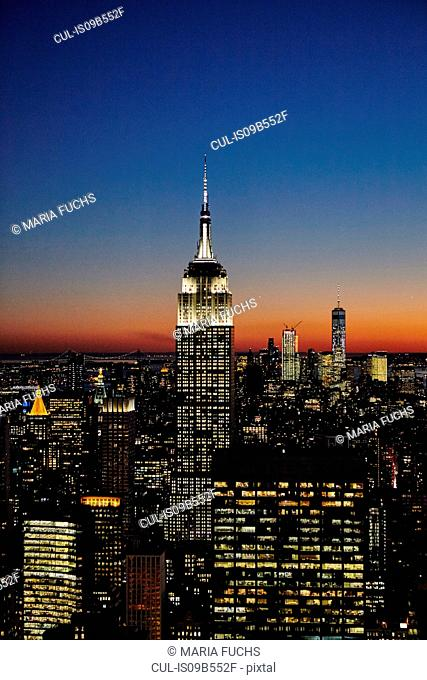 Elevated view of Empire State Building at night, New York City, USA