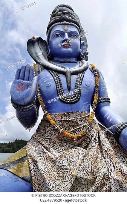 Mauritius, Shiva's statue at the Hindu temple of the Grand Basssin