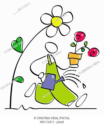 gardener is watering the garden plants and flowers