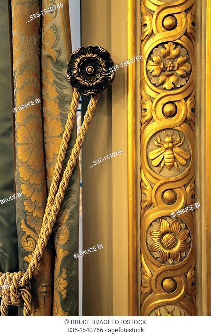 The decoration details of Le Grand Salon in Shangri-La Hotel Paris  Paris  France