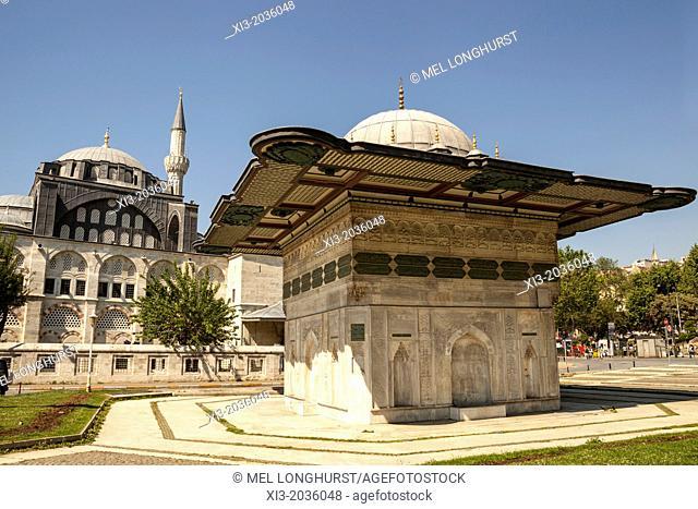 Kilic Ali Pasa Mosque and Kilic Ali Pasa Fountain, also known as Tophane Fountain, Tophane, Beyoglu, Istanbul, Turkey