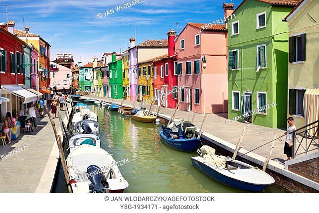 Burano - characteristic colorful houses in village of Burano near Venice, (Burano Lagoon Island), Italy