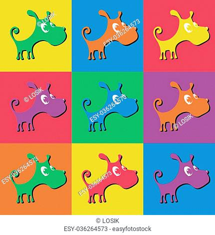 Vector illustration of a cute puppy, a set of colored silhouettes on different backgrounds