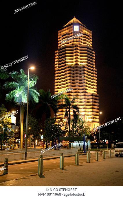 Office building illuminated at night, Kuala Lumpur, Malaysia, Southeast Asia, Asia
