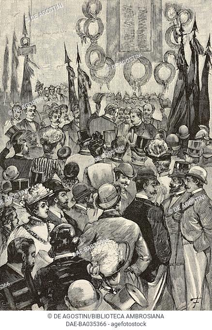 Celebrating the Anniversary of the breach of Porta Pia in Rome, Italy, September 20, 1890, drawing by A Foli, illustration from Il Secolo Illustrato della...