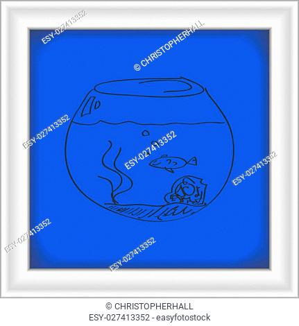Simple hand drawn doodle of a goldfish bowl