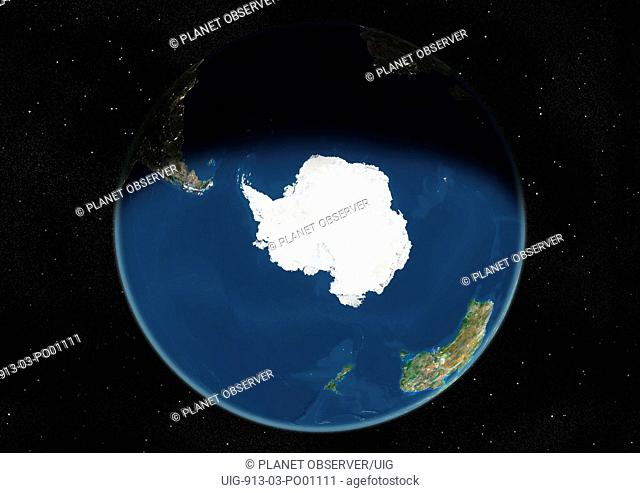 Globe Centred On The South Pole, True Colour Satellite Image. True colour satellite image of the Earth centred on the South Pole, during winter solstice at 12 p