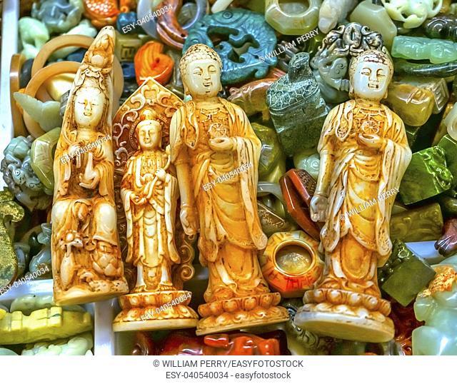 Chinese Replica Plastic Buddhas Decorations Panjuan Flea Market Decorations Beijing China. Panjuan Flea Curio market has many fakes