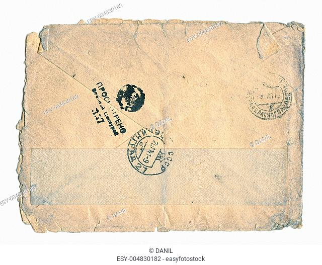 Vintage post letter, WWII, 1943. With censured stamps