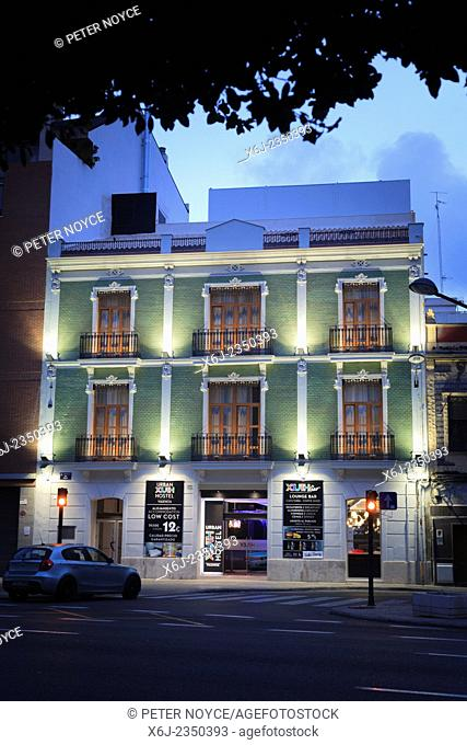 Exterior of Urban Youth Hostel in Valencia Spain at dusk