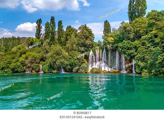 Roski slap is big waterfall in Krka national park, Croatia