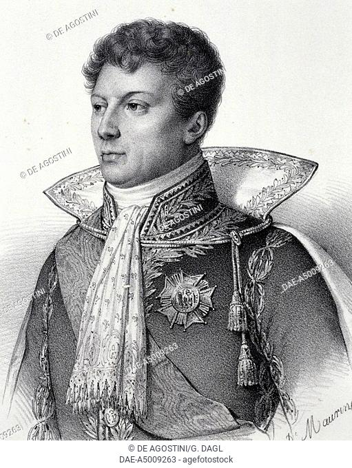 Portrait of Geraud Christophe Michel Duroc (Pont-a-Mousson, 1772-Markersdorf, 1813), French general during the Napoleonic Wars and the Duke of Friuli, engraving
