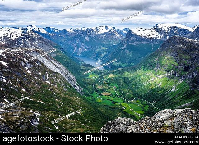 Geirangerfjord, view from the mountaintop, Dalsnibba, Norway, Scandinavia, UNESCO World Heritage