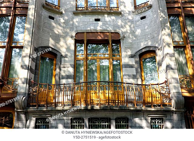 part of front facade - Art Nouveau Hotel Solvay - house designed by Victor Horta 1898-1900 for Armand Solvay, together with three other town houses of Victor...