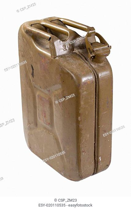 retro green jerrycan isolated on white background
