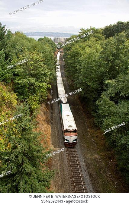The Amtrak Cascade Talgo passenger train west of Tacoma, Washington, headed south toward Portland, Oregon, USA