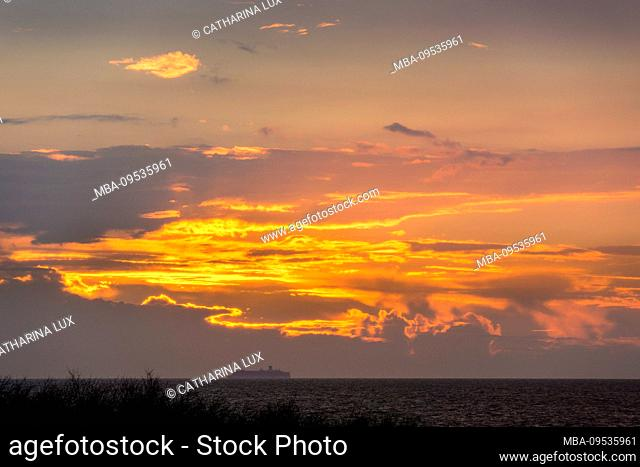 Baltic Sea, Fischland, Darss, ocean view at sunset, ferry on the horizon