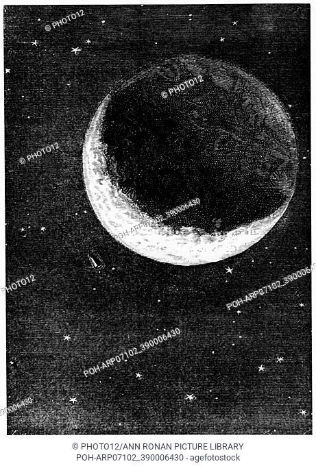 """Space capsule dwarfed by the disc of the Moon. From Jules Verne """"""""Autour de la Lune"""""""", Paris, 1865. Wood engraving. French Literature. Science Fiction"""