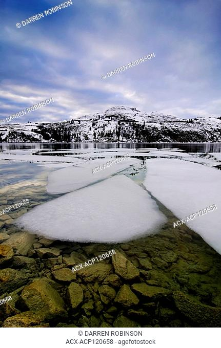 Ice chunks break away on Kalamalka Lake, near Vernon, British Columbia, Canada