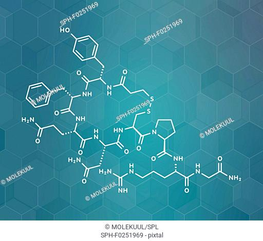 Desmopressin peptide, synthetic replacement of vasopressin hormone molecule. Used in treatment of bedwetting. White skeletal formula on dark teal gradient...
