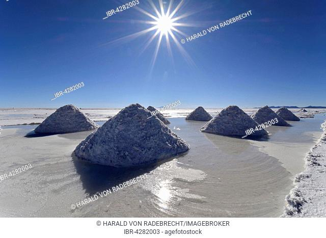 Piles of salt, Salar de Uyuni, Altiplano, Bolivia