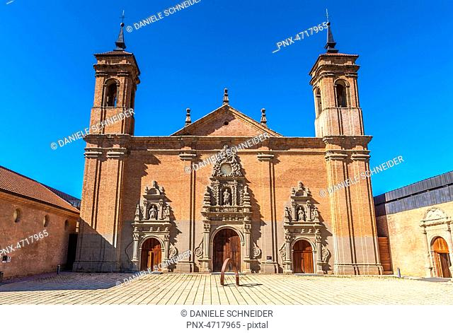 Spain, Pyrenees, Autonomous community of Aragon, new monastery of San Juan de la Pena, facade of the church (17th century) (Saint James way)