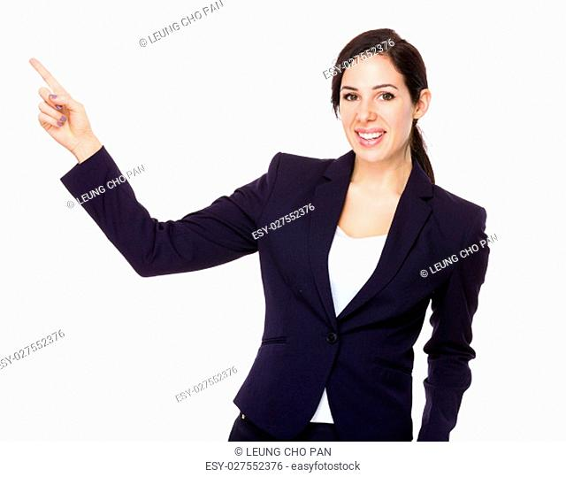 Businesswoman with finger point upwards