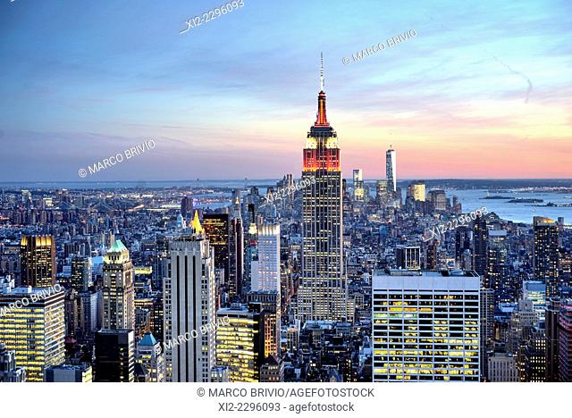 The Manhattan skyline at sunset, New York, USA