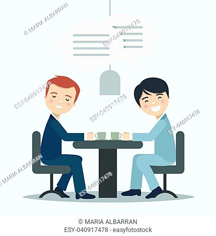 Two businessman talking about work in a cafe. Vector illustration