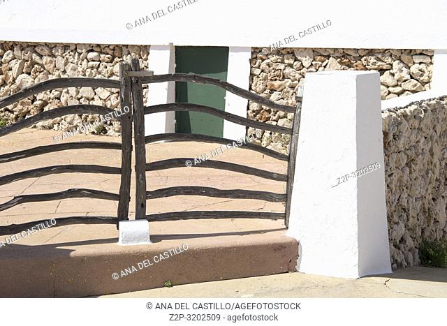 Menorca traditional wooden gate in spring at Balearic